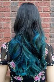 black\brown to blue ombre hair