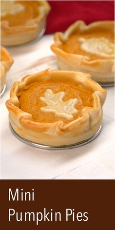 These adorable mini pumpkin pies are great for personalized portions for holiday dinners. They're easy to make with pre-made pie dough and mason jar rings.
