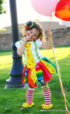 Seriously, how cute is this?! If I had a daughter, she'd own this!     Really Rainbow Clown Costume including Fabric Scraps Tutu Shirt Leg Warmers and Mini Top Hat size 4T. $55.00, via Etsy.