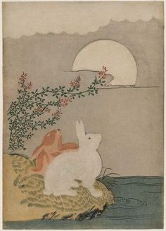 Artist: Suzuki Harunobu Title:Hares and Autumn Full Moon Date:Japanese, Edo perio