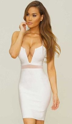 Enjoy your night in town with you fab Brila dress! Its made to hug your body, giving you a feminine touch! This dress has a stunning deep V-cut and has a 2-inched meshed line just above the belly line. $157.00  http://starrboutique.com/collections/bandage-dress/products/the-brila-dress