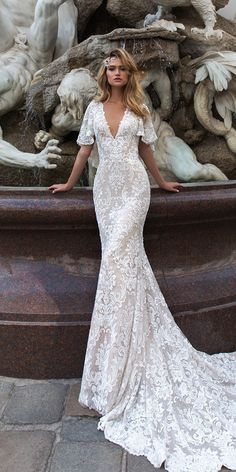 crystal design 2018 wedding dresses sheath v neckline lace with sleeves and train style indria #weddingdaymakeup
