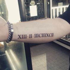 Roman numerals forearm tattoo #numerals #rihanna #ink #forearm #tattoo #date #roman #tattooideas