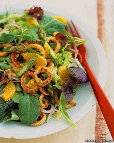 Salad of Crisp Squid, Asparagus, and Tangerines