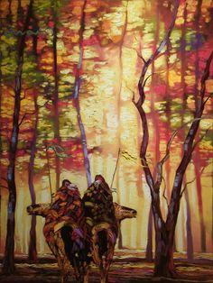 Ride in Autumn ➳ Native American Beauty, Native American Artists, Native American Indians, Native Americans, Indian Pictures, Indian Pics, Indian Artwork, Romantic Paintings, Southwestern Art