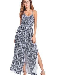 St. Jubileens Women Spaghetti Strap V Neck Boho Dress Backless Loose Floral Print Maxi Casual Dress