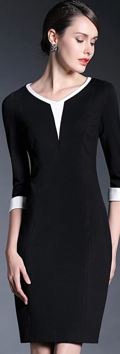 Black V Neck Patchwork Dress Dress Outfits, Fashion Dresses, Short Dresses, Dresses For Work, Elegantes Outfit, Patchwork Dress, Dressy Tops, Business Dresses, Classy Dress