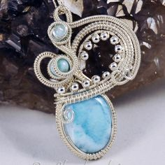 Sterling Silver Woven Wire and Larimar Swans Neck Original Design Pendant