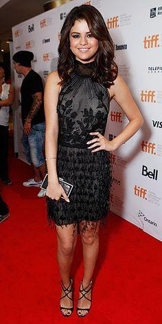 Selena Gomez in Alberta Ferretti, Swarovski earrings, and Jimmy Choos for Hotel Transylvania premiere in Toronto.