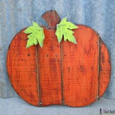 Check out this project on RYOBI Nation - I wanted to add a rustic pumpkin to my Halloween decor and had a pallet sitting around.  This pumpkin is really easy.  Set a few slats of wood next to each other, trace a pumpkin shape onto the wood.  Use a jig saw and cut out the pattern.  Drill holes in the slats and tie the wood together with wire.  I applied a few layers of different paint colors, sanded the dry paint to make it rustic, then stained the paint to give it a rich look.