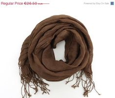 ON SALE Dark Brown Linen Scarf unisex chocolate by Schalrausch, €13.25