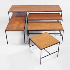 Nesting tables    Estimated value: 1000-1500 US$  Reached Price : 1300 US$  Auction:  Modernist 20th Century  Sales date: 2001-10-28  Location:  Chicago  Lot number: 326  Design Paul McCobb   Year 1950s   Manufacturer Furnwood Corp.