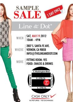 Sample sale at Line & Dot will be one part shopping, one part party.  The May 19th event will feature fantastic sales from contemporary designers at the company's headquarters in Vernon, CA.  Come with cash and be ready to shop! http://bit.ly/J26x4Z #apparelnews #sales #LA