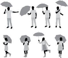 Vectores libres de derechos: Silhouette of people with umbrellas