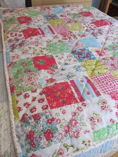 Patchwork quilt, quilted diagonally