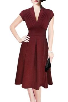 Retro Style V-Neck Wine Red Short Sleeve Dress For Women Vintage Dresses | RoseGal.com Mobile