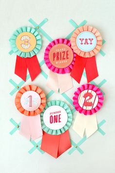 Award Ribbons - paper with ribbon rosettes