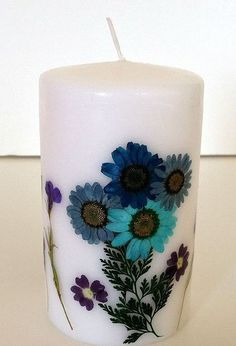 pressed flower candles, crafts