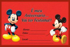 Festa Mickey Mouse: Decoração festa infantil Mickey Mouse Mickey Mouse Invitation, Disney Inspired, Minnie Mouse, Disney Characters, Fictional Characters, Happy Birthday, Invitations, Party, Base