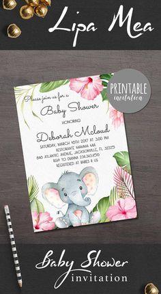 Elephant Baby Shower Invitation Girl Baby Shower Invitation, Safari Baby Shower Invitation Jungle Floral Baby Shower Invitation. Jungle Shower ideas. lipamea.etsy.com