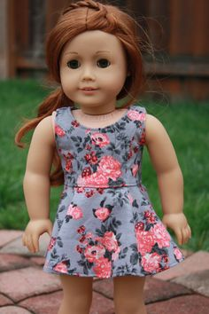Gray Coral Floral Sleeveless Princess SKATER DRESS for AG dolls by Closet4Chloe on Etsy $17.00