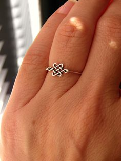 Silver Celtic Knot  Ring. Skinny Ring Stack by PeggysPassions, $12.00