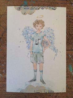 Stampa di angelo da un acquerello originale mio, si tratta di 10x15cm