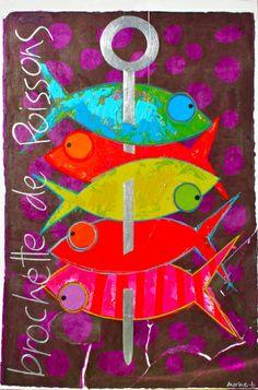 Brochette de poissons - 80 x 60 cm