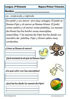 Recursos educativos: Fichas de lengua para Primero de Primaria Hoy comenzamos una serie de fichas de Lengua para repasar en clase o en casa de Primero de P
