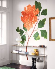 Bring the beautiful and elegant look of Framed botanical prints are an entryway go-to, but you can also think outside the frame and display an enormous wall decal instead. One of the best sources, muralsyourway.com, has a selection of ready-made murals and will also create a custom design based on an image you send