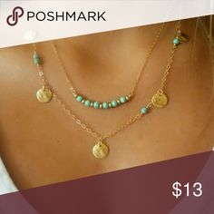 *** ARRIVING IN TWO WEEKS *** Goldtone Double Chain w/Turquoise and Coin Beads Jewelry Necklaces
