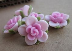5 pcs 15 mm Pink Polymer Clay flowers FIMO beads by hellodiy99, $3.99