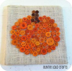 Auntie Lolo Crafts: Pumpkin Button Art with instructions Autumn Crafts, Fall Crafts For Kids, Thanksgiving Crafts, Holiday Crafts, Fun Crafts, Christmas Crafts, Arts And Crafts, Christmas Garlands, Prim Christmas