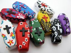 10 Large Day of the Dead Coffin Beads - coffin, skeleton, peruvian, ceramic, dia de los muertos -  LG624. $12.00, via Etsy.