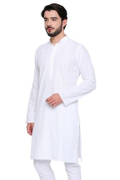 Shatranj Men's Indian Banded Collar Long White Tunic Kurta With High Embroidery White Kurta, Male Outfits, White Tunic, Dapper, Tunics, Chef Jackets, Indian, Pure Products, Embroidery