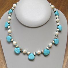 Pearls Turquoise Necklace Silver Toggle Clasp by MoonstoneMary, $136.00