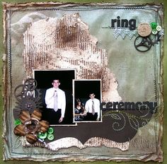 masculine layout using dark colors, gears and cardboard: http://www.scrapbook.com/galleries/104219/view/3291379/-1/4.html