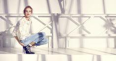 Etam Weekend spring summer 2015 Natalia Vodianova and Mark Segal white jeans stripe sock sporty boudoir