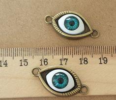 8pcs 10x25mm Antique bronze eyes Charm Pendant Bracelet