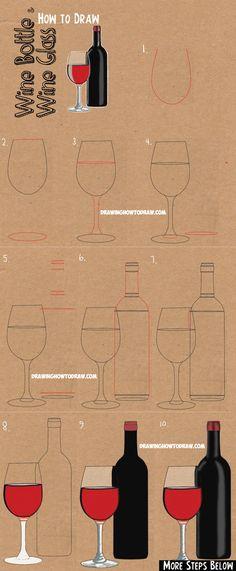 How to Draw a Bottle and Glasses of Wine Drawing Tutorial Wie zeichnet man eine Flasche Wein und ein Glas Wein: Easy Step by Step Drawing Lesson 3d Drawing Techniques, Drawing Lessons, Drawing Tips, Sofa Drawing, Beginner Drawing, Basic Drawing, Wall Drawing, Drawing Tutorials, Drawing Sketches
