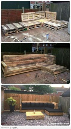 Pallet L-Shaped Sofa for Patio / Couch | 101 Pallet Ide… na Stylowi.pl