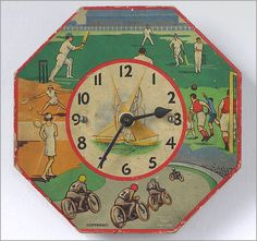 1930s octagonal sporting theme wall clock