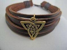 Celtic Shield Brown Leather Cuff by Karensjewelrykorner,