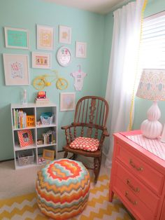 Emerson's Colorful, DIY-Crafted Nursery. Love the pouf pattern!