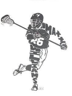 This is a silhouette of a male lacrosse player. The silhouette is done with black prisma pen on bristol paper. The first name goes down the
