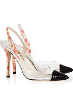 e2f45845e9af SOPHIA WEBSTER 37 Daria Black Patent Leather Clear PVC Leopard Slings Heels  6.5  SophiaWebster  Slingbacks  Party