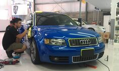 This blue Audi S4 is getting a Enthusiast Detail, Paintless Dent Repair and Window Tint