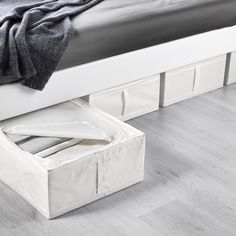 IKEA - SKUBB, Storage case, white, You can even keep the storage case under the bed – perfect for extra bedlinen, pillows or covers. Easy to pull out as the storage case has a handle. Protects your clothes from dust. Organisation Ikea, Under Bed Organization, Airing Cupboard Organisation, Shoe Organizer Under Bed, Closet Organization, Ikea Skubb, Bed Organiser, Ikea Storage, Ikea Under Bed Storage