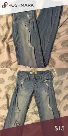 Distressed jeans! These distressed jeans from hollister are so cute! They're a light wash denim and really flattering! These are perfect for taller girls as they're a size 3L! I'm 5'7 and these fit me with room to spare at the bottom :) Hollister Jeans Skinny