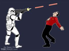 Trooper vs. Red Shirt T-Shirt - http://teecraze.com/trooper-vs-red-shirt-t-shirt/ -  Designed by TShirt Laundry    #tshirt #tee #art #fashion #TCRZ #clothing #apparel #StarWars #StarTrek
